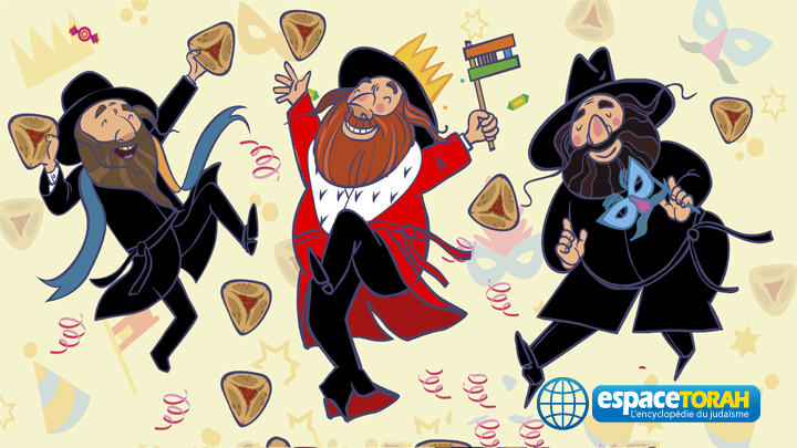 Happy hasids dance and injoy Purim